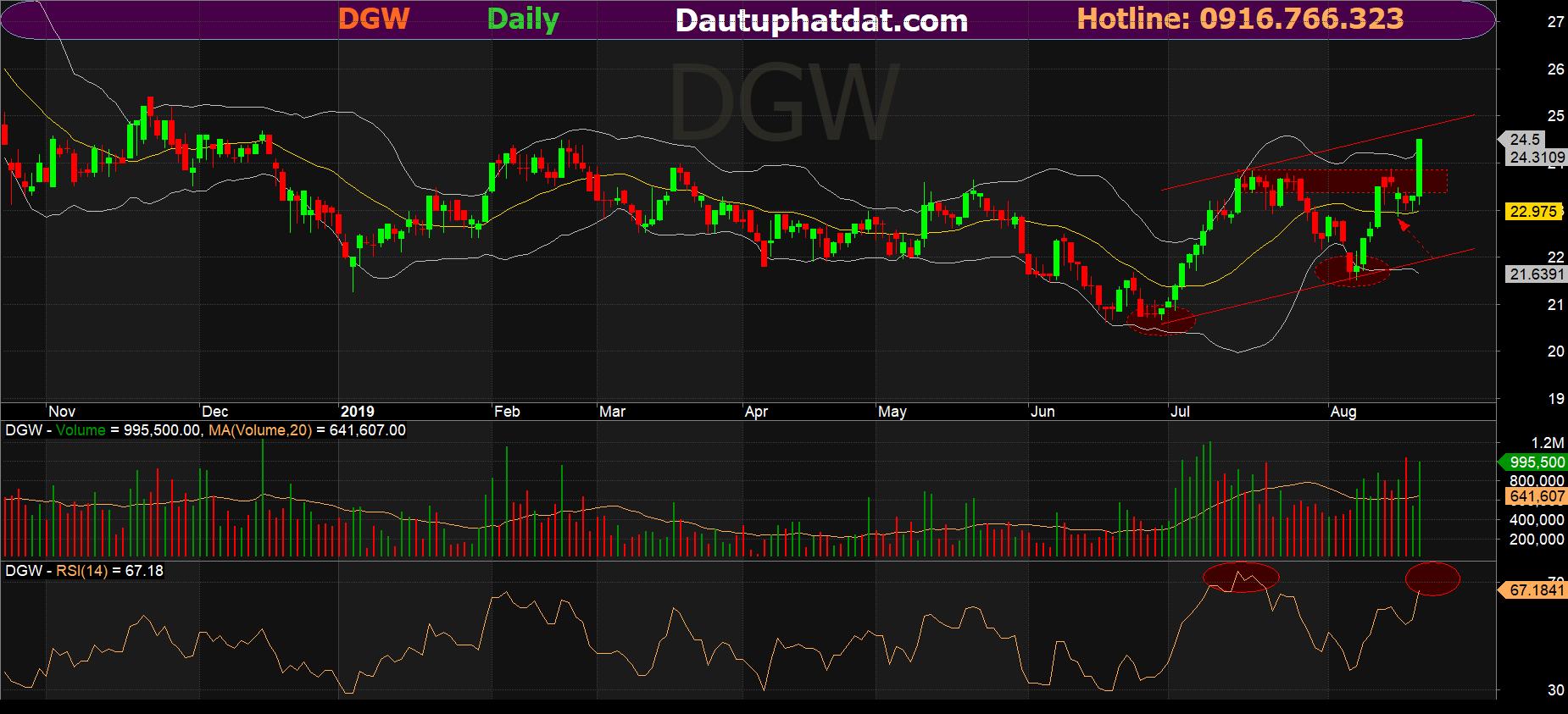 Đồ thị ngày cổ phiếu DGW